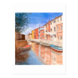 Isla de la postal de la bella arte de Burano