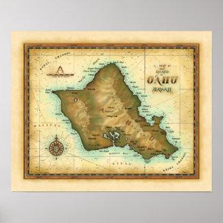 Isla de Oahu de Hawaii Póster