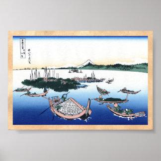 Isla de Tsukada en la provincia de Musashi Hokusai Póster