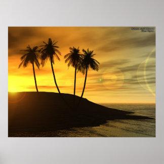 Isla del árbol de coco póster