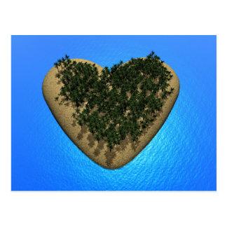 Isla del corazón - 3D rinden Postal