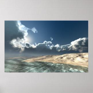 Isla distante del océano póster