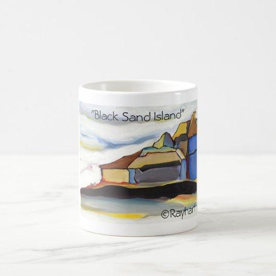 Isla negra de la arena por Rayhart Taza De Café
