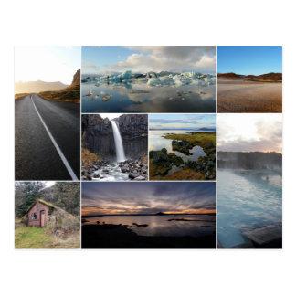 Islandia ajardina la postal del collage