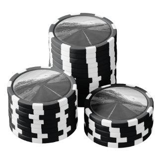Islandia rural blanco y negro juego de fichas de póquer