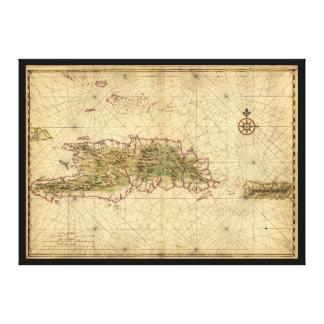 Islas del mapa de La Española y de Puerto Rico Impresión En Lienzo
