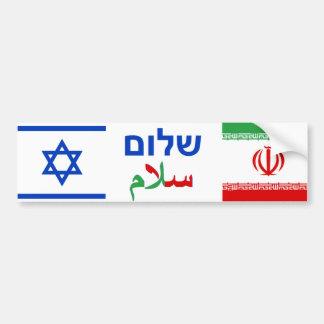 Israel + Amistad de Irán Etiqueta De Parachoque