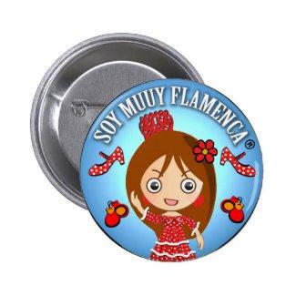 Chapa Soy Muuy Flamenca Castaña Azul y Rojo Chapa Redonda 5 Cm