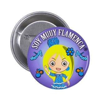Chapa Soy Muuy Flamenca Rubia Celeste y Azul Chapa Redonda 5 Cm