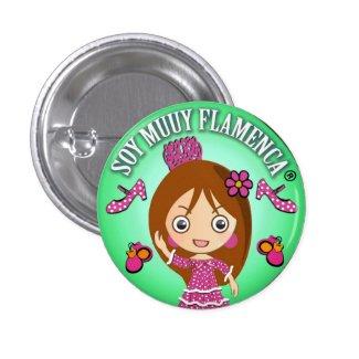 Chapa Soy Muuy Flamenca Castaña Lila y Verde Chapa Redonda 2,5 Cm