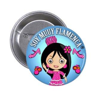Chapa Soy Muuy Flamenca Rosa y Celeste