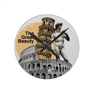 Italia, la gran belleza reloj redondo mediano