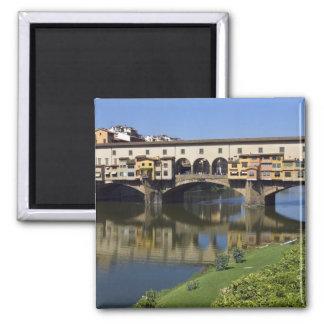 Italia, Toscana, Florencia, el Ponte Vecchio 2 Imán Cuadrado