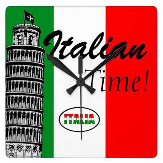 Italiano-Bandera de Italia Reloj Cuadrado