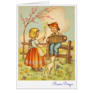 Italiano Pascua Buona de saludo Pasqua del vintage Tarjeta De Felicitación