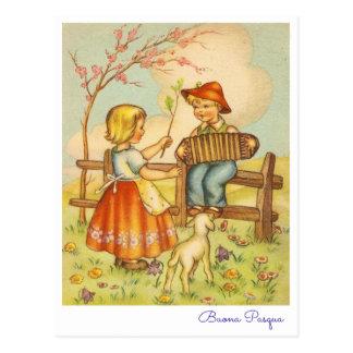 Italiano Pascua Buona de saludo Pasqua del vintage Postales