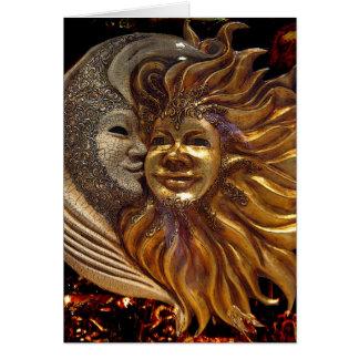 Italiano Sun y máscaras de Carnaval de la luna Tarjeta De Felicitación