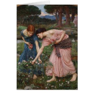 J.W. Capullos de rosa de YE del frunce del Waterho Tarjeta De Felicitación