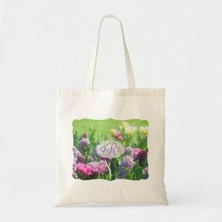 Jacinto hermoso de los tulipanes del jardín de la bolso de tela