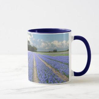 Jacintos azules en un campo Holanda Taza