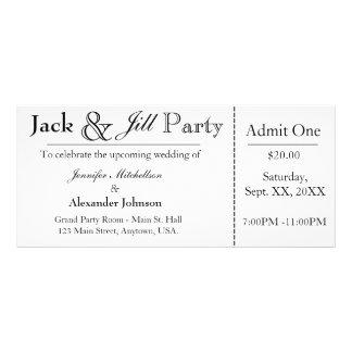 Jack blanco e invitación del boleto de la ducha de