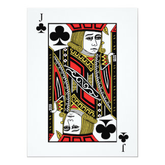 Jack de clubs invitación 16,5 x 22,2 cm