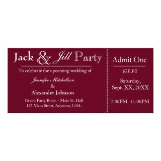 Jack de color rojo oscuro e invitación del boleto