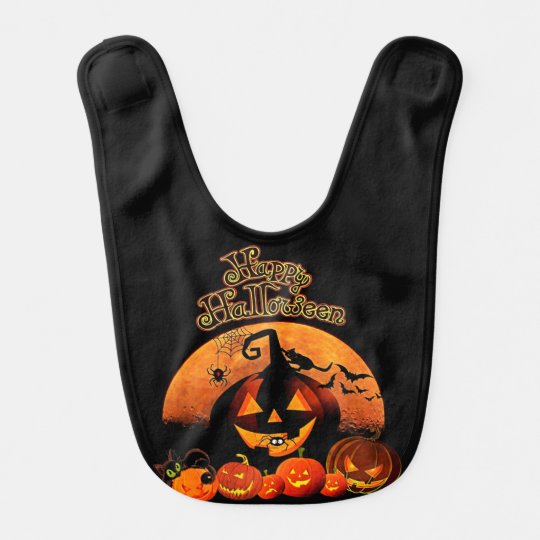 Jack-o-linterna fantasmagórica del feliz Halloween Baberos De Bebé