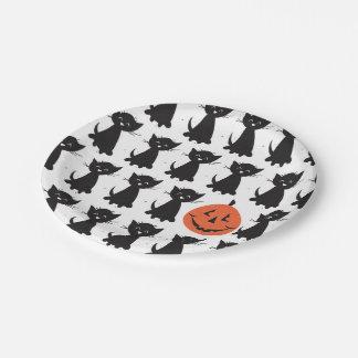 Jack y las placas del fiesta de los gatos negros plato de papel