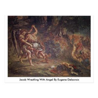 Jacob que lucha con ángel de Eugene Delacroix Postales