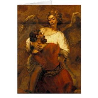 Jacob que lucha con el ángel de Rembrandt Tarjeta De Felicitación