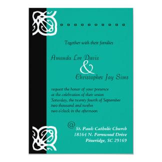 Jade ornamental y negro de la invitación del boda