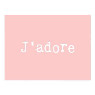 J'adore escrito a máquina del rosa y blanco tarjetas postales