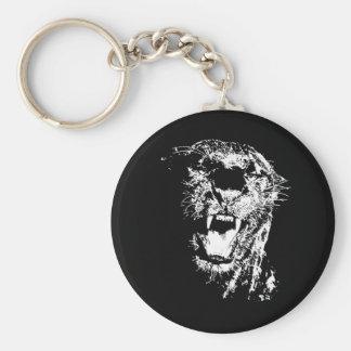 Jaguar que ruge llavero redondo tipo chapa