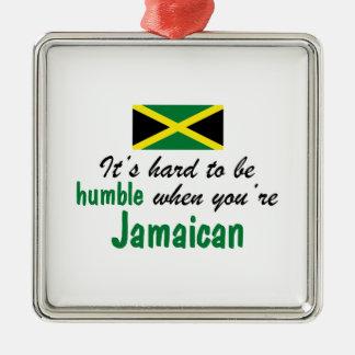Jamaicano humilde adorno navideño cuadrado de metal