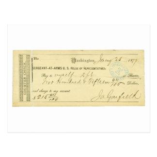 James Garfield firmó el control a partir del 25 de Postal