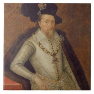 James I de Inglaterra, y VI de Escocia Azulejo Cuadrado Grande