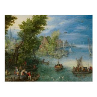 Jan Brueghel la anciano - paisaje del río Postal