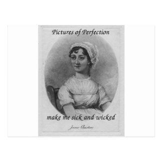 Jane Austen es enfermo y travieso Postal