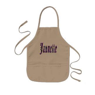 Jannette, nombre, logotipo, delantal artístico de