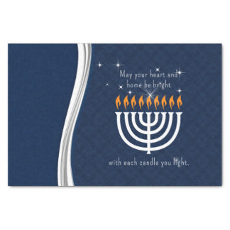 Jánuca azul y blanco con cada luz de la vela papel de seda