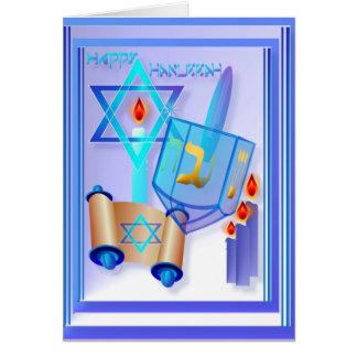 Jánuca Dreidel-Feliz de cristal azul Felicitación