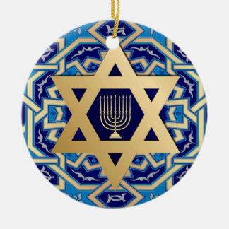 ¡Jánuca feliz! Estrella del diseño de David y de M Ornamentos De Navidad