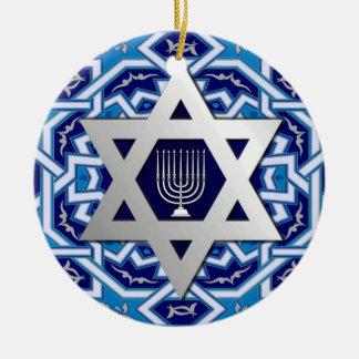¡Jánuca feliz! Estrella del diseño de David y de M Ornamentos De Reyes