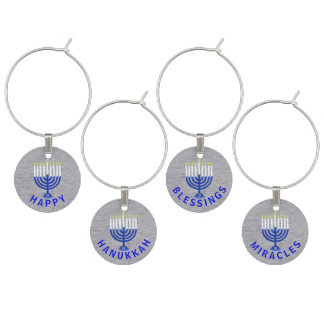 Jánuca Menorah azul marino en la falsa plata Identificador De Copa