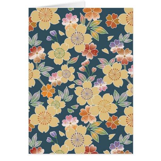 Japón, Sakura, kimono, Origami, Chiyogami, flor, Tarjeta