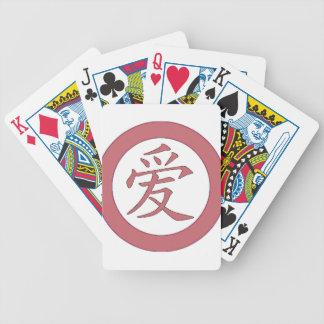 Japonés - 爱 chino del amor baraja de cartas bicycle