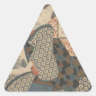 Japonés Woodprint Pegatina Triangular