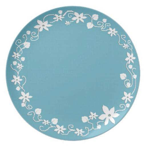 Jard n azul floral plato de comida zazzle for Jardin azul canal 9