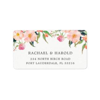 Jardín botánico de la acuarela elegante floral etiqueta de dirección